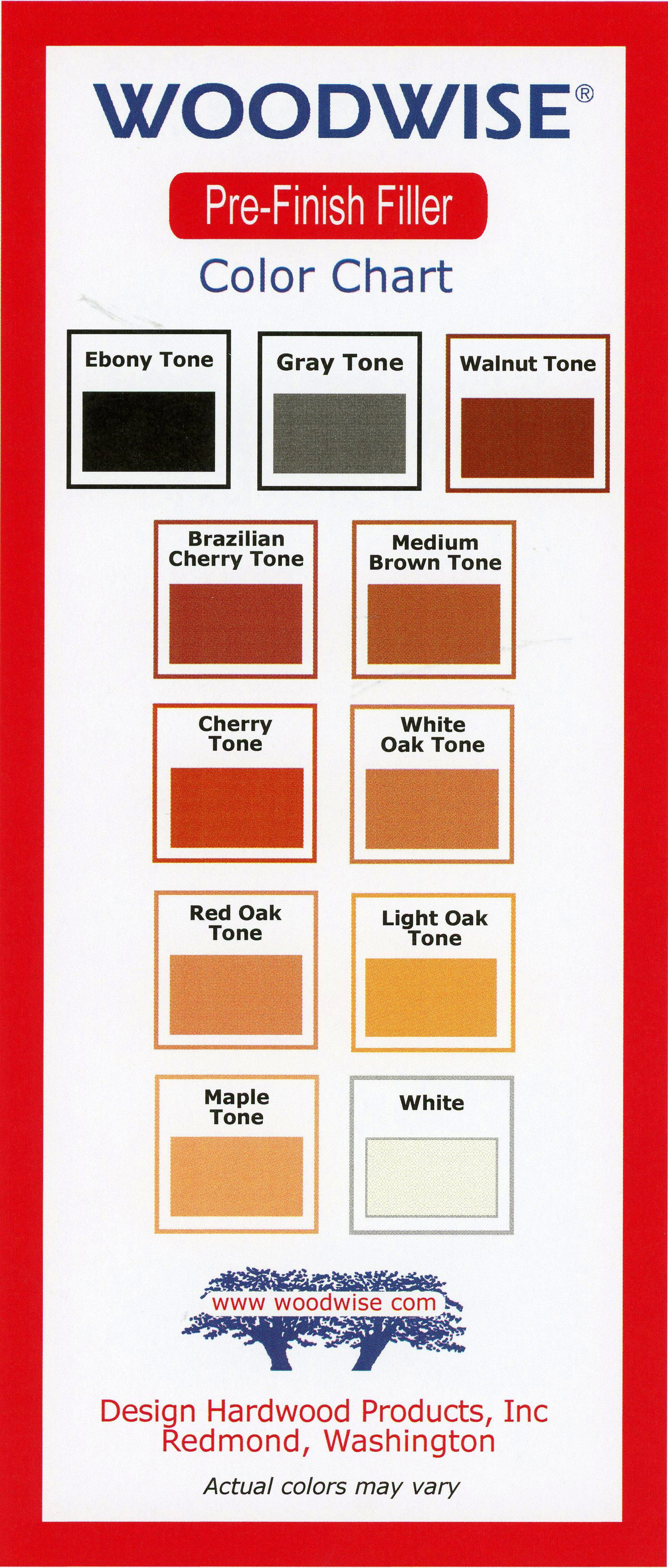Wood Filler Color Charts Woodwise
